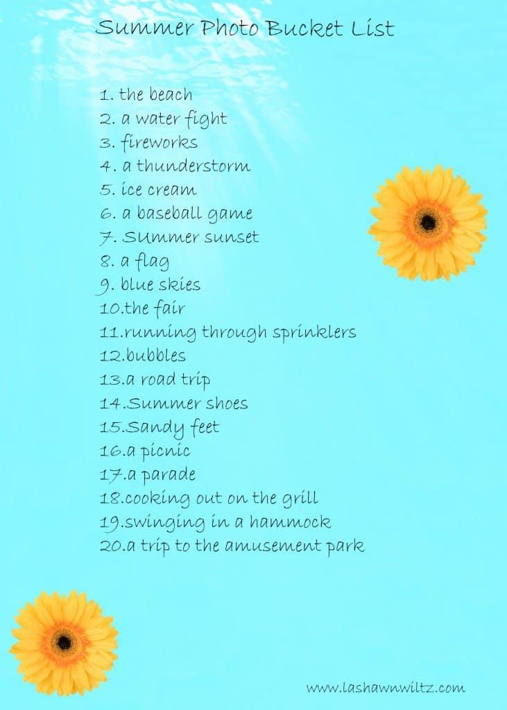 summer photo bucket list