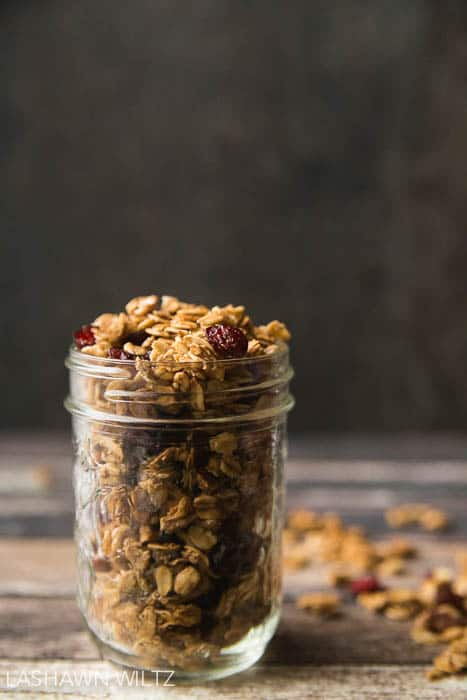I love granola, but got tired of trying to find the perfect one. So I made this gluten free maple pecan granola with cranberries. It's got everything I wanted in a granola. Home made and gluten free.