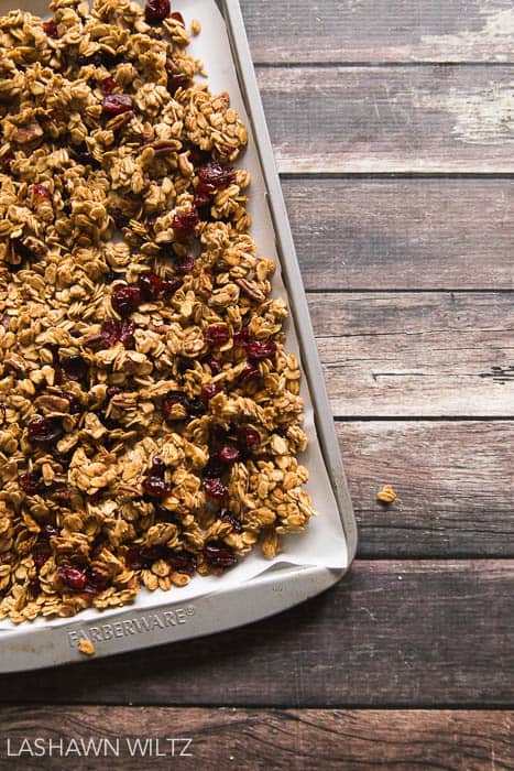 I love granola, and I'm so glad I finally made some at home! This gluten free maple pecan granola is so GOOD!