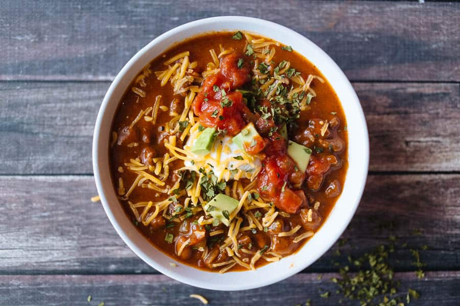 Easy chili recipe with avocados, tomatoes, cheese