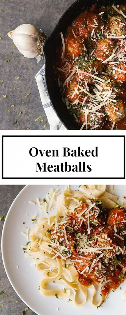 This recipe for oven baked meatballs is fancy enought to serve for Sunday dinner, and easy enough to make during the week. Eat them by themselves or serve it over pasta! It is SO good!