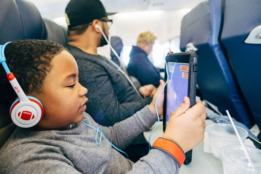 on a plane to disney