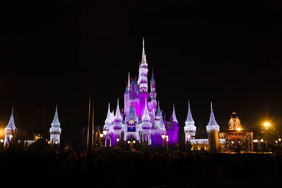 Disney castle at night.
