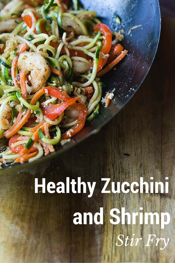 Healthy zucchini noodle and shrimp stir fry! made using zucchini cut with a spiralizer! So good!