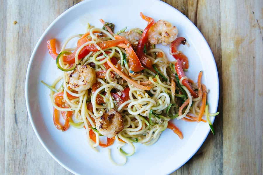 Healthy zucchini noodles and shrimp stir fry! made using zucchini cut with a spiralizer! So good!