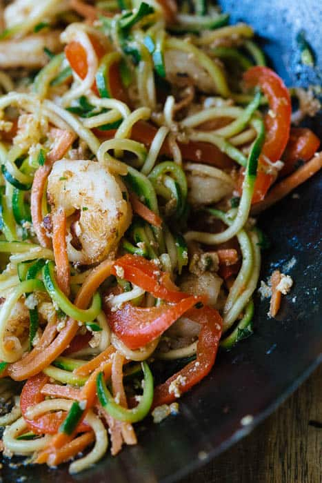 Healthy zucchini noodles and shrimp stir fry! made using zucchini cut with a spiralizer! Whole 30 approved