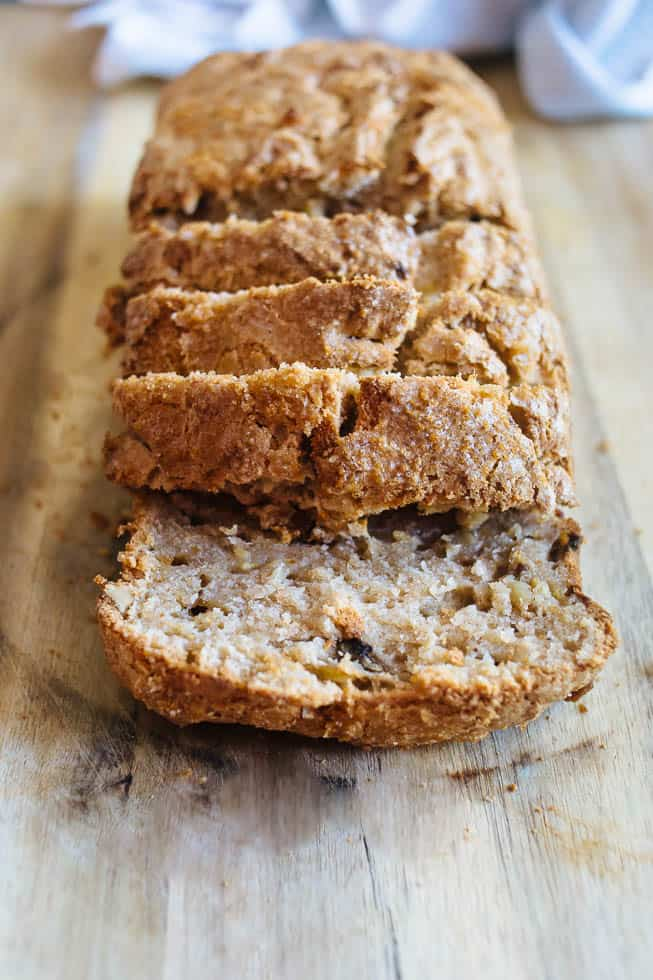 This cinnamon sugar banana nut bread is so easy to make and delicious too! And its gluten free!