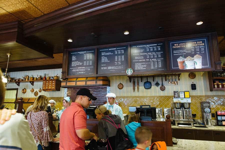 Starbucks on main street at Disney in the magic kingdom