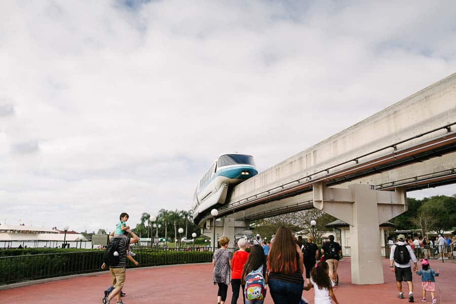 Disney mono-rail at Disney world magic kingdom helps you get around to some Disney World Hotels