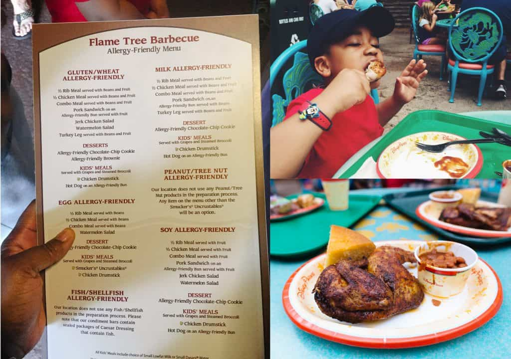 Gluten free dining at Flame Tree barbecue in the animal kingdom