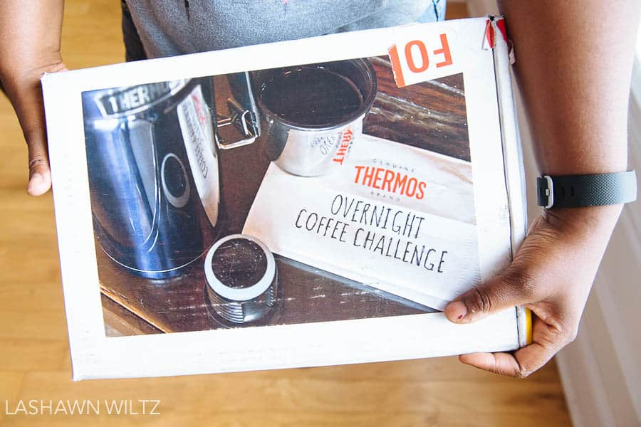 I woke up and this box showed up at my door. With HOT coffee! Have you tried the overnight coffee challenge?