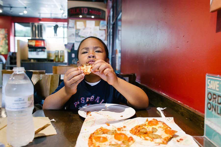 Day 2 of 100 days of summer: Pizza at Uncle Maddios. His favorite.