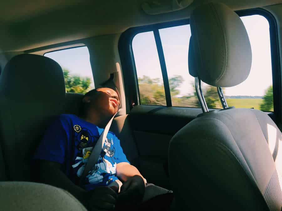 sleeping in the backseat