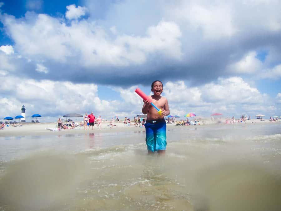Boy on North tybee Island beach