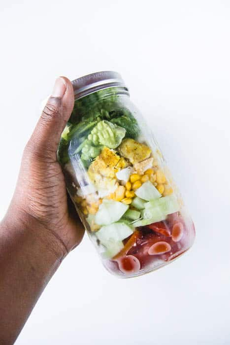 Basic grilled chicken salad in a jar is perfect for lunch!