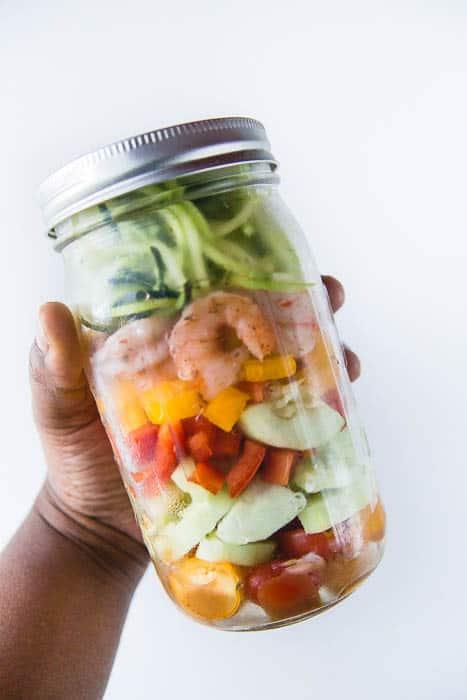 Shrimp Zoodle salad in a jar