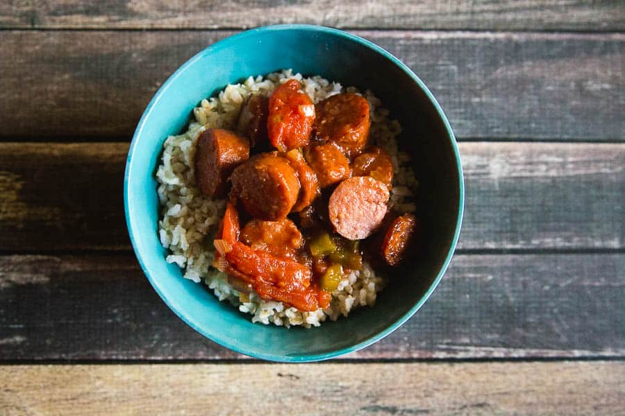 Easy skillet sausage and peppers over Success rice..perfect for a weeknight meal