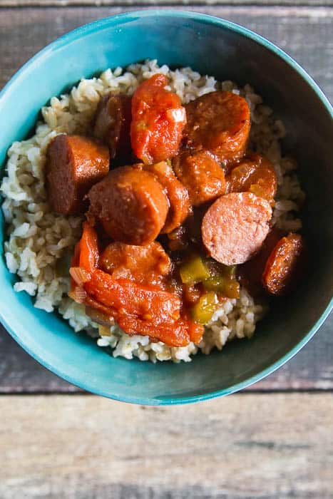 asy skillet sausage and peppers over rice-10