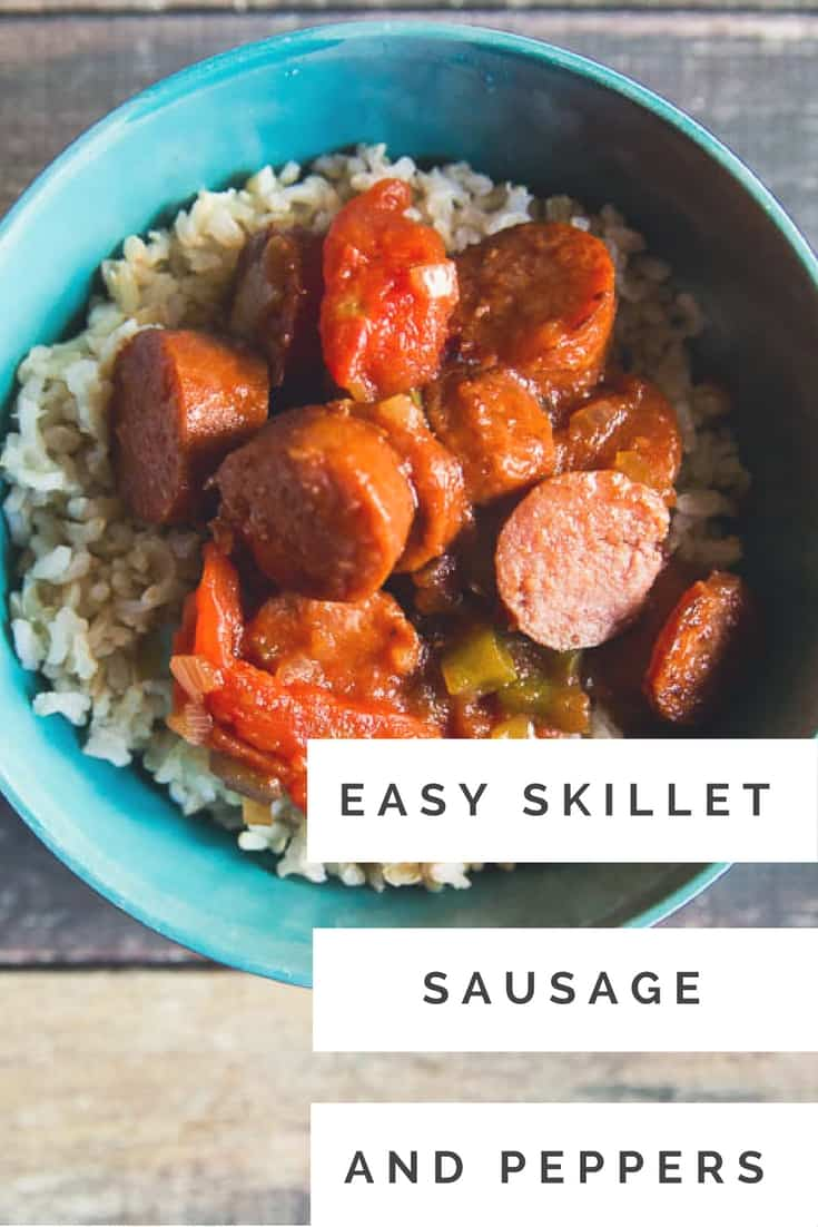 Looking for something easy and delicious to cook on a school night? Check out this easy skillet sausage and peppers recipe over rice #weeknightmeals #sausageandrice #recipes