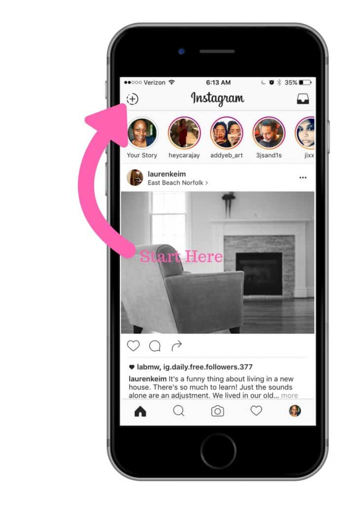How do you get started with Instagram stories? Start at the top of your feed