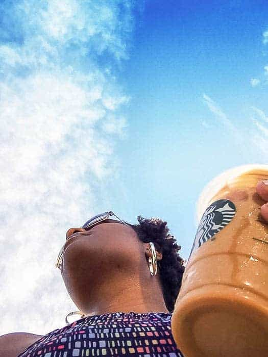 starbucks and a blue sky. welcome to saturday