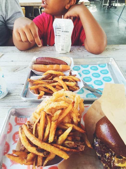yeah burger gluten free fries, gluten free onion rings..