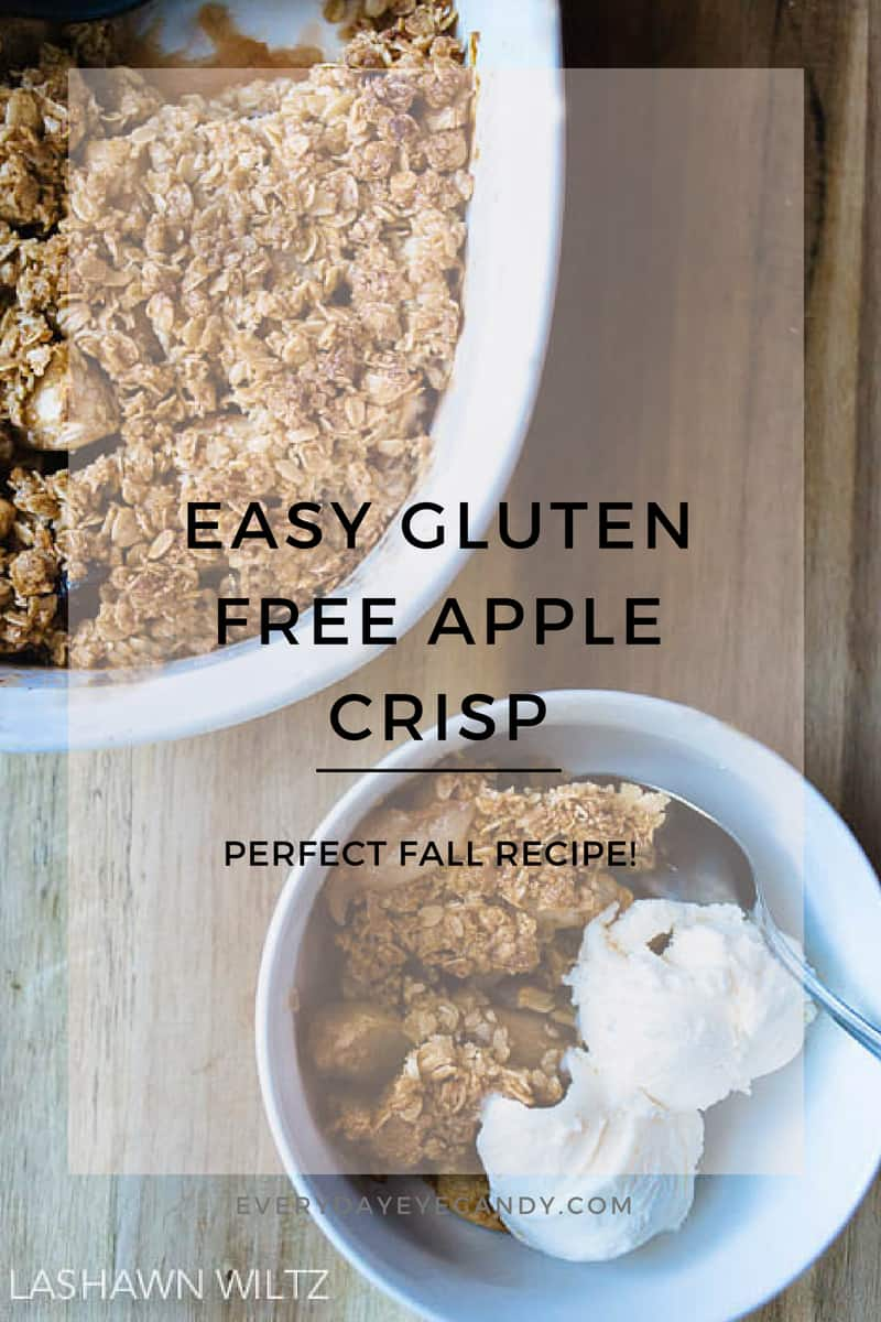 it's fall! And time to make lots of recipes with apples! I love making this easy delicious gluten free apple crisp as soon as we pick apples! #glutenfree #applecrisp #fall #recipe