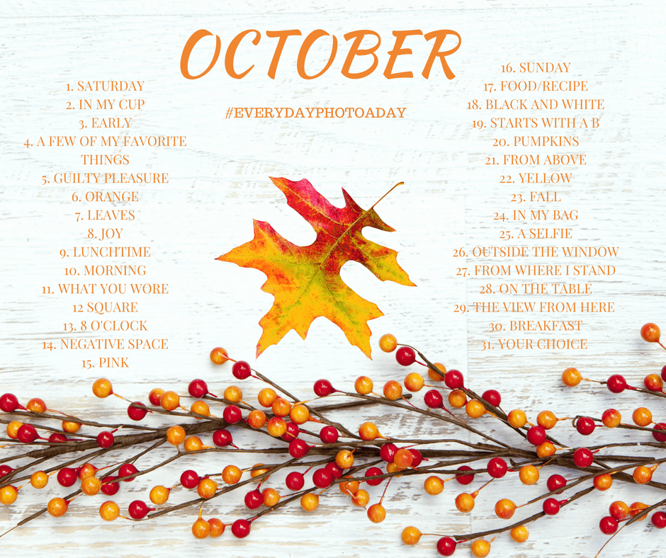 Fall is the perfect time of year to take photos! Join in for my October photo a day challenge. Improve your photography with these prompts!