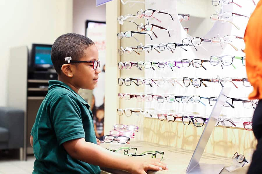 Pookah looking for glasses at JCPenney Optical