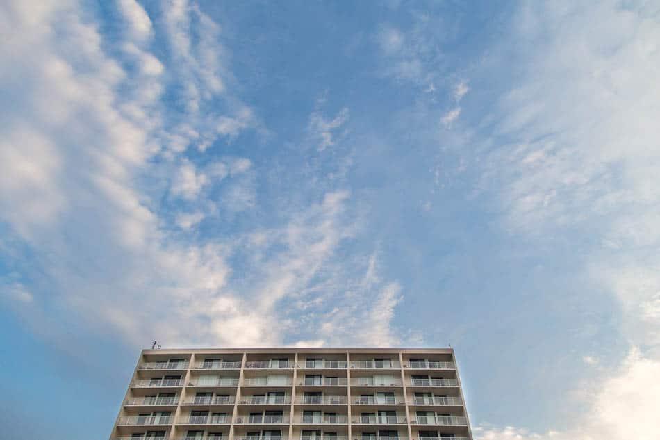 beach building and the blue summer sky