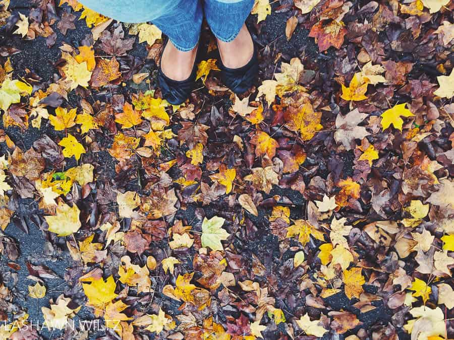 Fall photo bucket list: leaves on the ground.