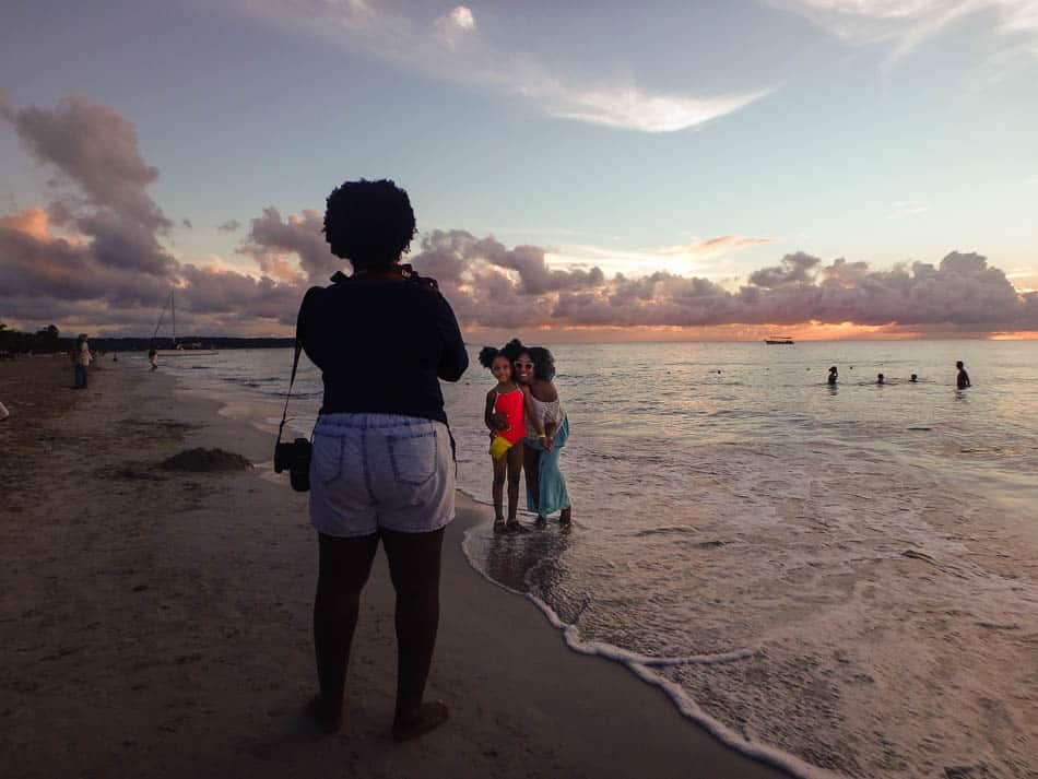Bloggers at sunset in Negril, Jamaica