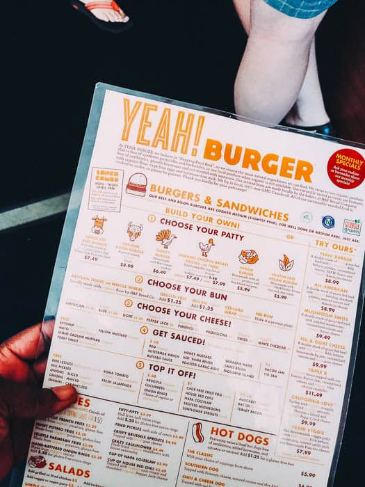 The menu at yeah Burger has so much variety, from veggies to burgers to hotdogs! And lots of gluten free options at yeah burger