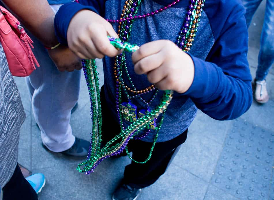 photo of beads at Mardi Gras