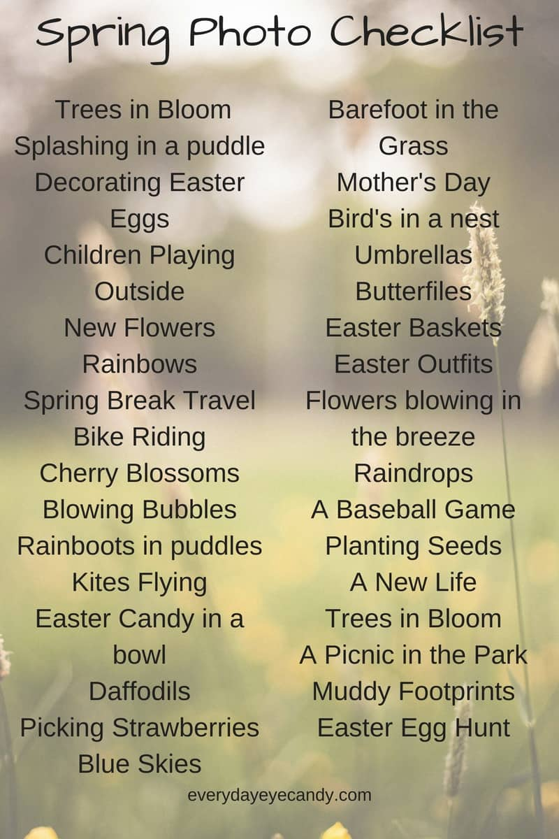 Check out this spring photo checklist to inspire your photography this spring! Great ideas to photograph your kids #photochecklist #photography #photographytips #springphotography