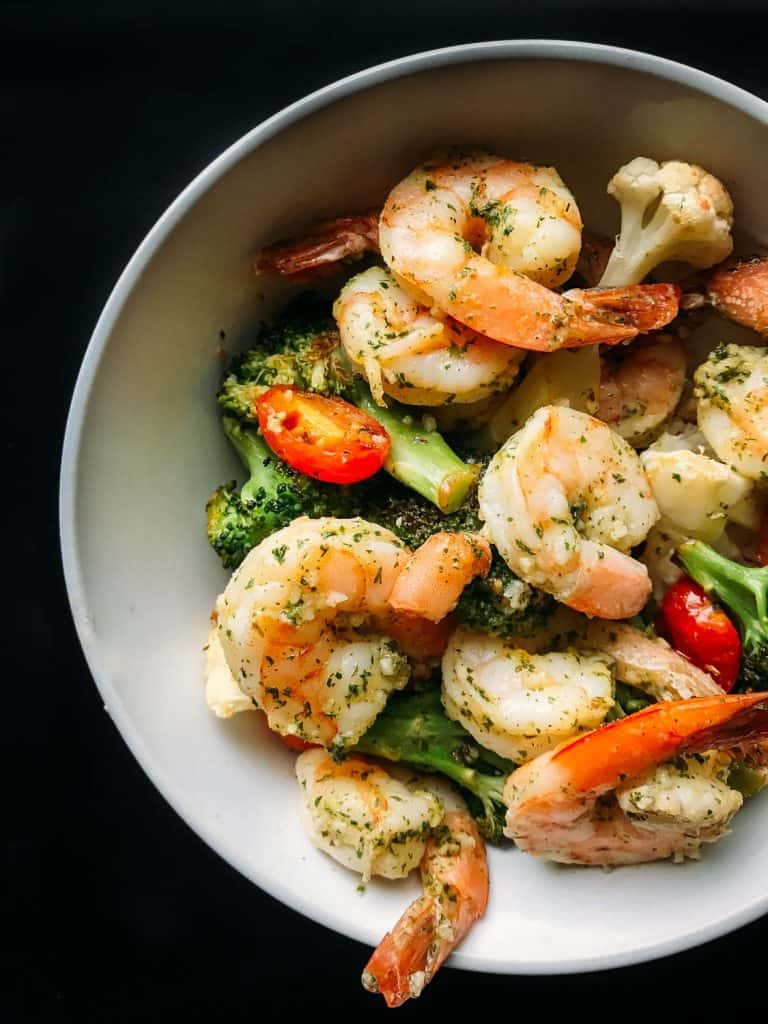 Bowl of easy sheet pan shrimp scampi for dinner.