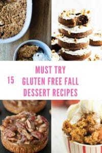 15 Must Try Gluten Free Fall Recipes including apple cookies, gingerbread donuts, apple crisp, and pecan tarts. Great fall recipes for breakfast, snacks, desserts and more!
