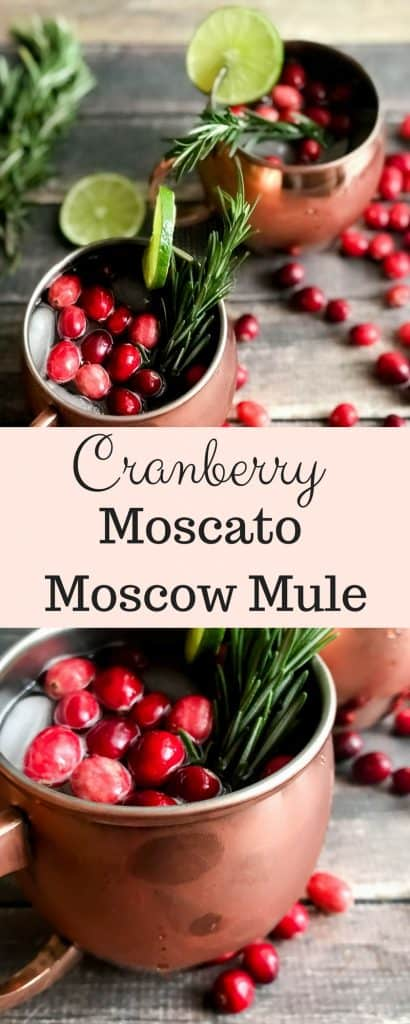 Cranberry Moscow Mule with Moscato ( a twist)! You will love this holiday twist on this classic and so will you're guests this holiday season! #holidays #recipes #moscowmule