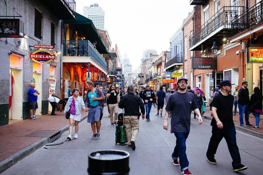 walking down the street in the French Quarter