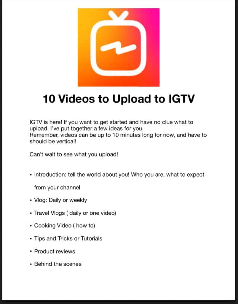 10 videos to upload to IGTV