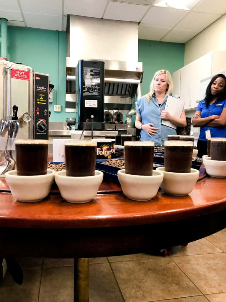 cupping at folgers plant in new orleans when I went to learn about new orleans and coffee