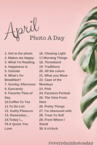 april photo a day challenge 2019