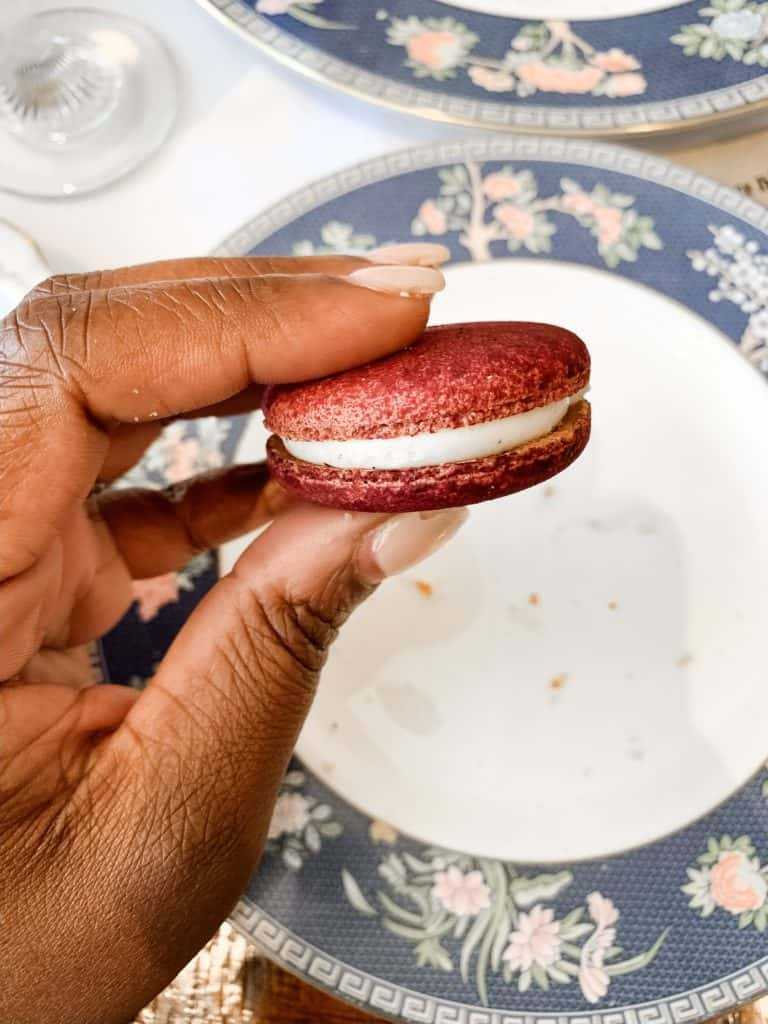 southern high tea in atlanta red velvet macaroon