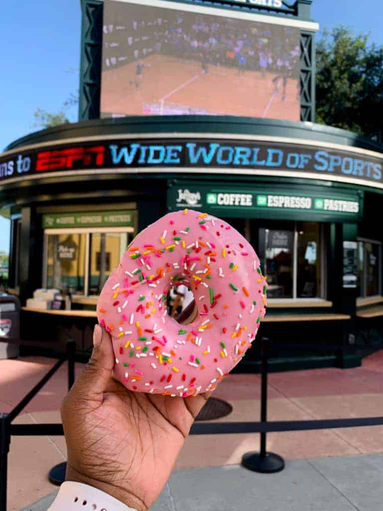 big donut from Joffrey's coffee and tea at Disney ESPN World Wide Sports