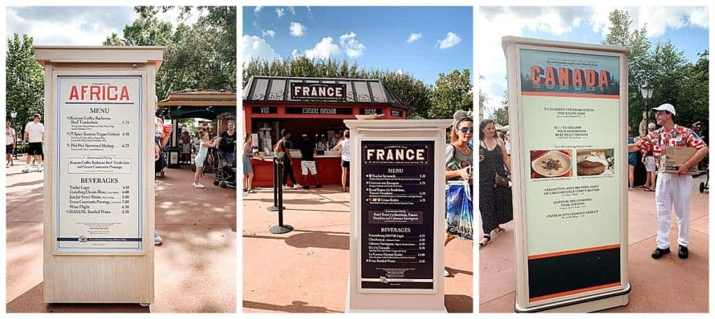 menus and options at the epcot food and wine festival