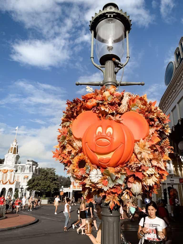 pumpkin decorations at Walt Disney in the fall.
