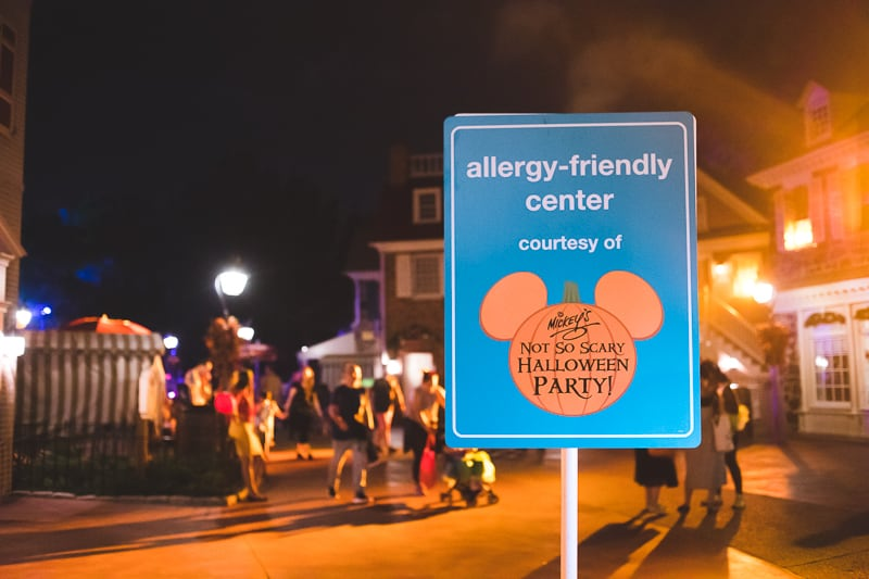 Allergy Friendly Mickey's Not So Scary Halloween Party pick up your treats station