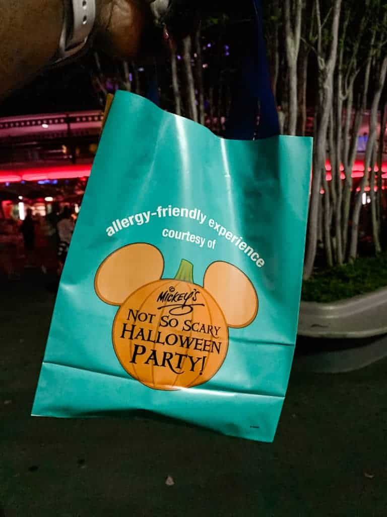 teal bags at Mickey's not so scary halloween party