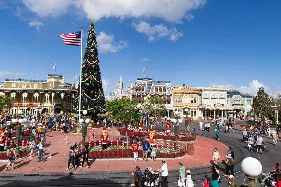 Christmas decorations at Disney during Fall