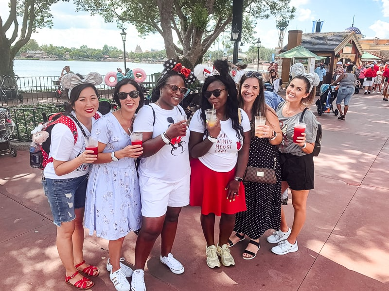 girlfriends at Epcot Food and Wine Festival